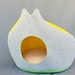 Designer CAT BED - Grey & Yellow - Large