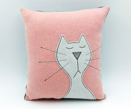 Cat Character Cushion - NZ Wool - NZ Made