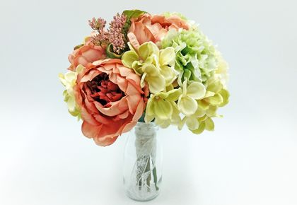 Floral Wedding Bouquet  - Dusky pink, green & white