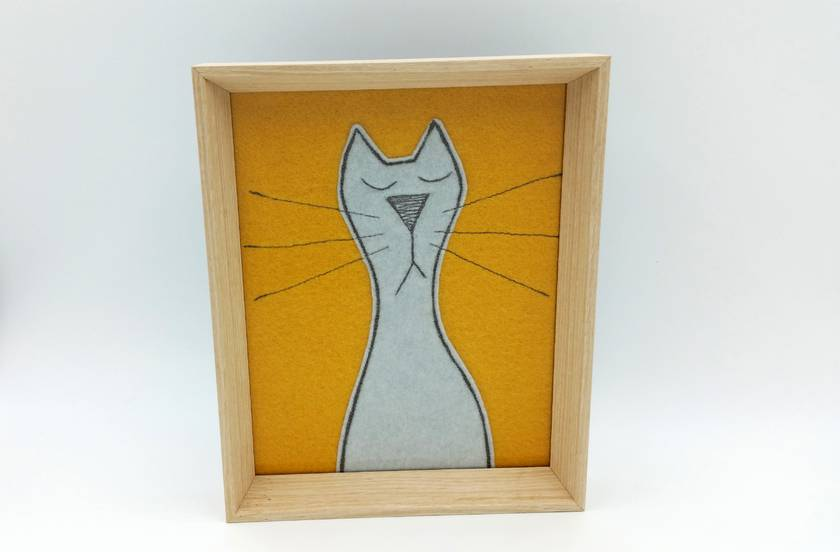 Cat - Original Framed Wall Art - NZ Made   Felt