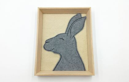 NZ Wool Character Rabbit - Original Framed Wall Art - NZ Made