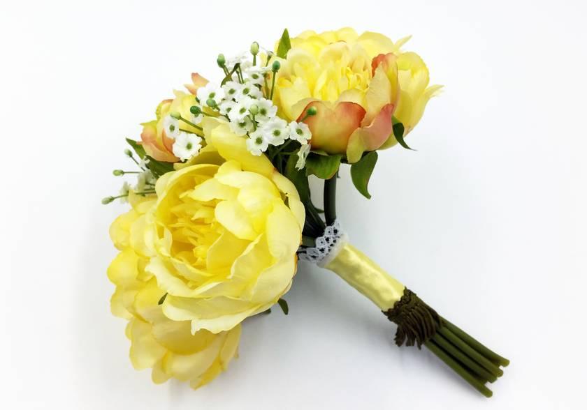 Floral Bouquet - Yellow Peony & Gypsophila
