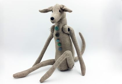 Linen Greyhound Dog - Texile Art Sculpture