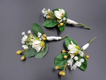 Wedding buttonholes - Set of 3 - NZ Made