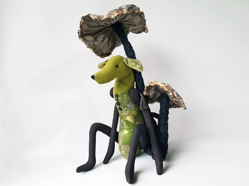 Greyhound Dog - Texile Art Sculpture