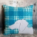 Dachshund Wool Cushion - Blue & White - NZ Made