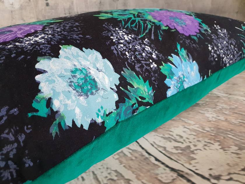Floral Cotton and Velvet Cushion