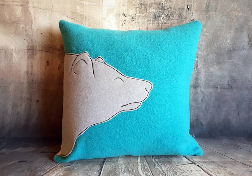 Polar Bear Cushion - NZ Wool & Linen - Sale