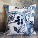 Blue and white wildlife cushion