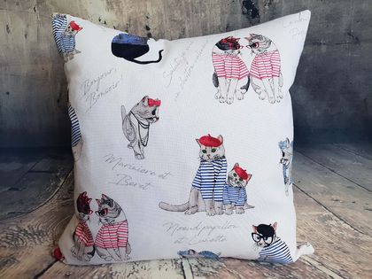 French Cat Cushion - NZ Made