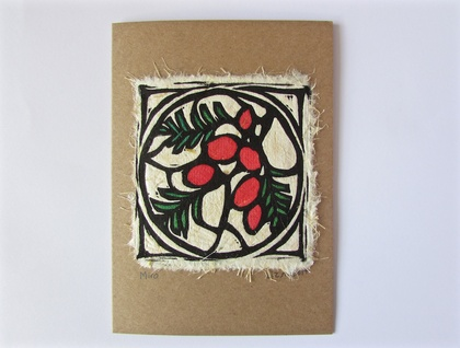 Miro Original Woodcut Greeting Card