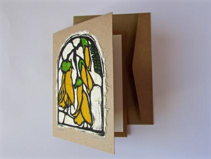 Kōwhai Original Woodcut Greeting Card