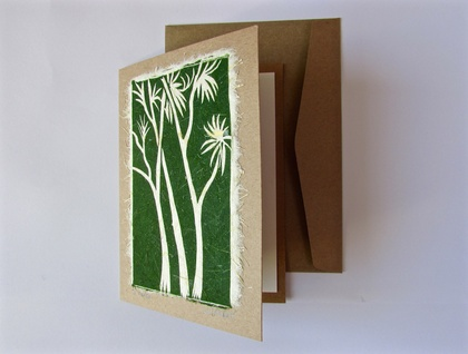 Tī kōuka Original Woodcut Greeting Card