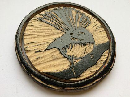 Pīwakawaka Original Woodcut Greeting Card