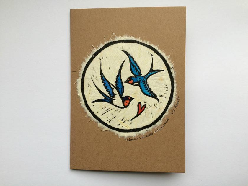 Warou Original Woodcut Greeting Card