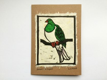 Kererū Original Woodcut Greeting Card