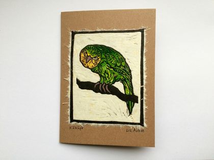 Kākāpō Original Woodcut Greeting Card