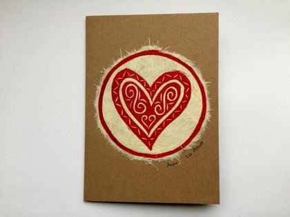 Aroha Original Woodcut Greeting Card