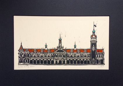 Original Handcoloured Woodcut of Dunedin Railway Station