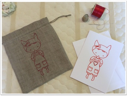 Linen giftbag card - Red Salopette