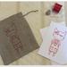 Linen giftbag card - Red Salopette