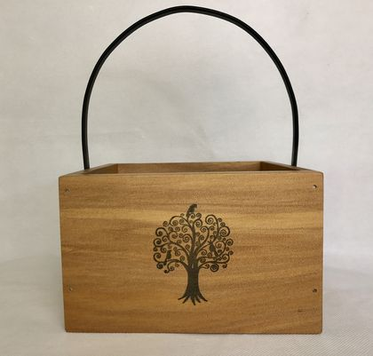 Square carry box with a tree & birds design, Kauri