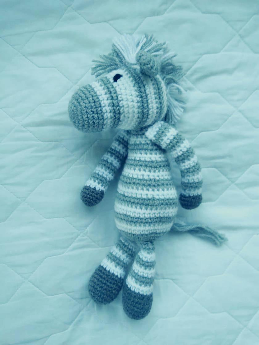 Grey and White Crochet Zebra