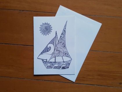 Colour Your Own Card - Boat Design