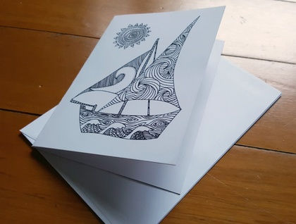SALE: Colour Your Own Card - Boat Design