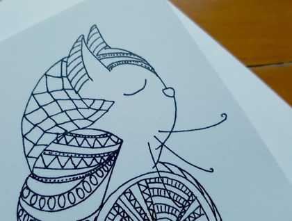 SALE: Colour Your Own Card - Cat Design