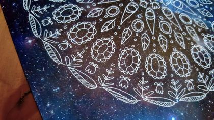 SALE: Night Sky Mandala Photograph Print - Whimsical Flowers / Starry Sky