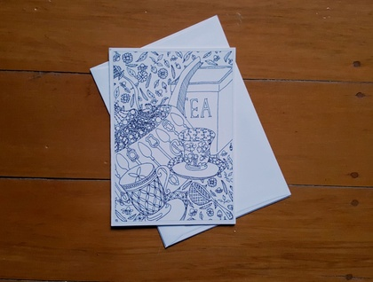 SALE: Colour Your Own Card - Tea Design
