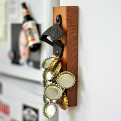 wall mounted rimu bottle opener with magnetic cap catcher felt. Black Bedroom Furniture Sets. Home Design Ideas
