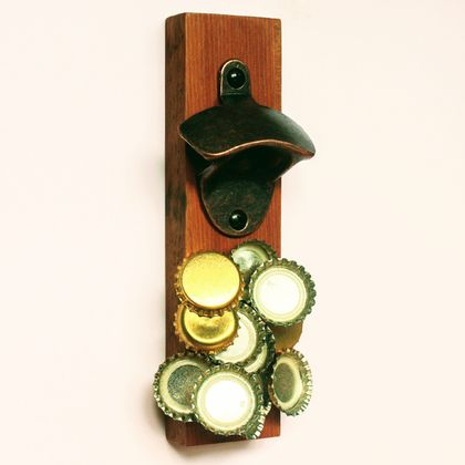 Wall Mounted Kauri Bottle Opener (with Magnetic Cap Catcher)