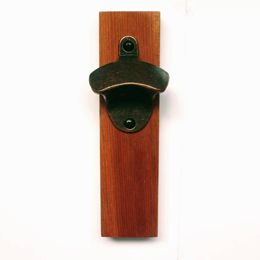 Wall mounted rimu bottle opener with magnetic cap catcher felt - Bottle opener wall mount magnet ...