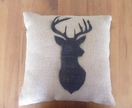 Hand sprayed stag cushion cover