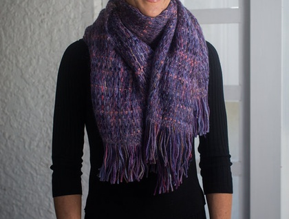 Iconic Sue Bateup Mohair and Wool Chunky Handwoven Scarf in Lavender Purple
