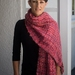 Iconic Sue Bateup Mohair and Wool Chunky Handwoven Scarf in Flame Red Pink