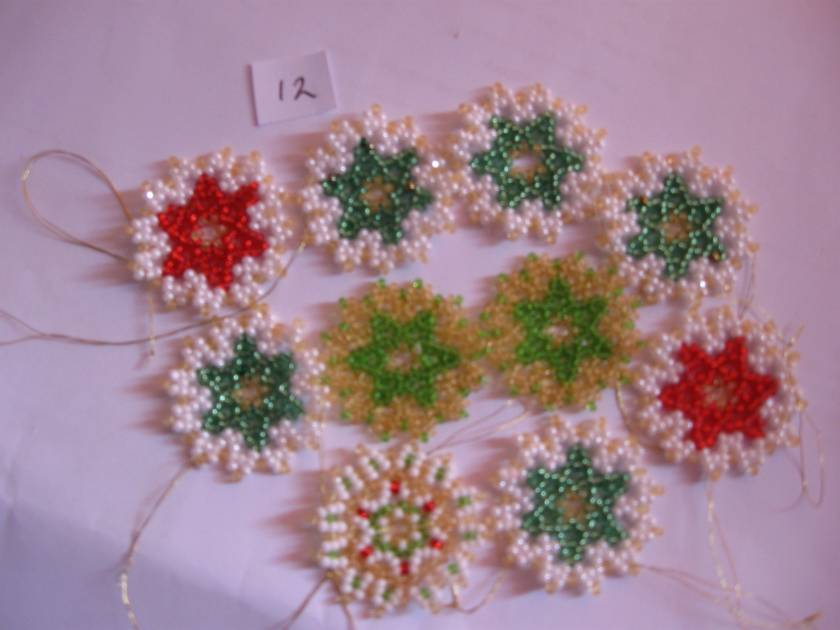10 hand beaded xmas decorations