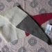 Cream pink and grey triangle ends pure wool scarf