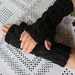 Black Pure wool handknitted fingerless gloves
