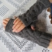 Grey Pure wool handknitted fingerless gloves