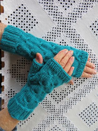 Teal handknitted pure wool fingerless gloves