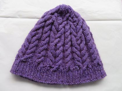 Purple Possum wool handknitted cabled beanie