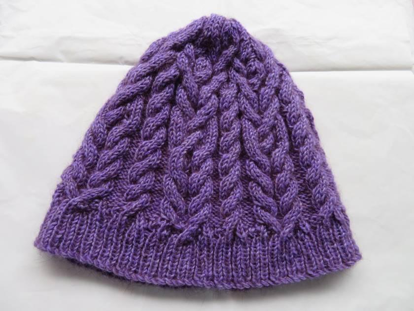 Purple Possum wool handknitted cabled beanie