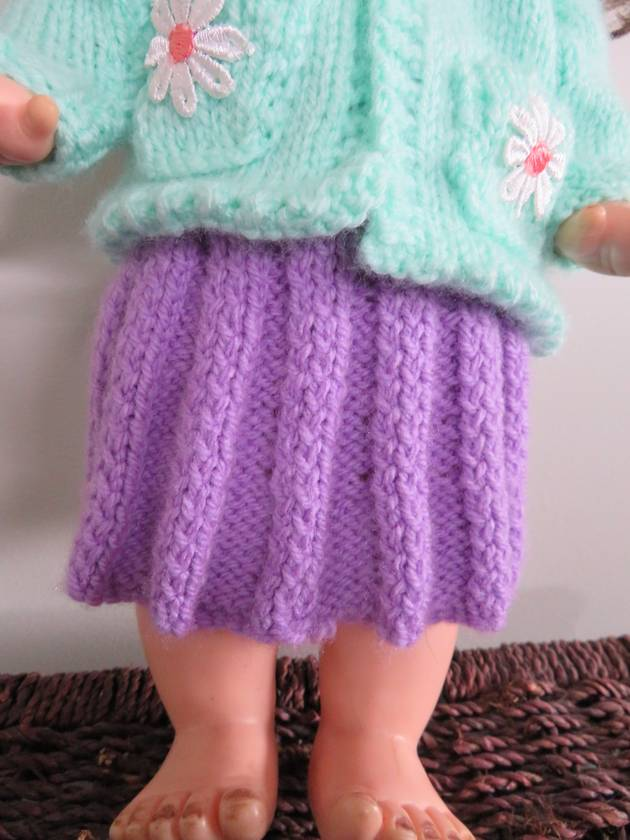 """Knitted dolls skirt for a 15-18"""" doll"""