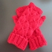 Red pure wool cabled fingerless gloves