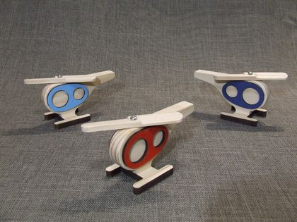 Hughie Helicopter Wood Toy - Colours