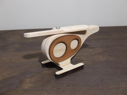 Hughie Helicopter Wood Toy - Natural
