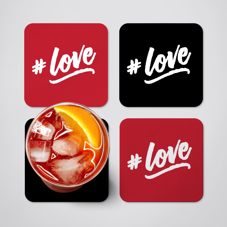 Love coaster set set of 4 coasters drink coaster mug coaster gift for her felt - Coaster sets for drinks ...